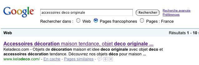 """Résultats Google pour la recherche """"Accessoires déco originale"""""""