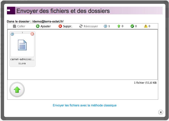 Aperçu de l'applet d'envoi de fichiers Terra-Octet